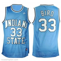 Larry Bird Indiana State Sycamores #33 Authentic College Basketball Womens Ncaa Jersey Blue