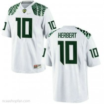 Youth Justin Herbert Oregon Ducks #10 Authentic White College Football Ncaa Jersey 102